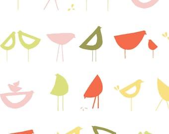"MONALUNA ""Little Birds Red"" Organic Cotton Fabric"