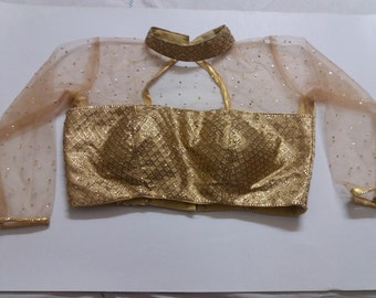 Readymade glittery boat neck saree blouse