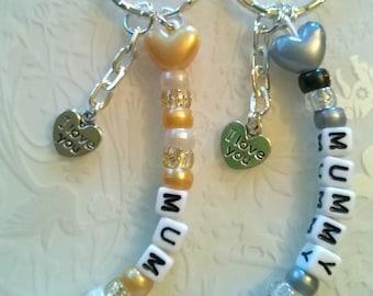 Mum Keyring~any name~personalised gift~I love you charm~Thankyou charm~Mum Keychain~Mummy