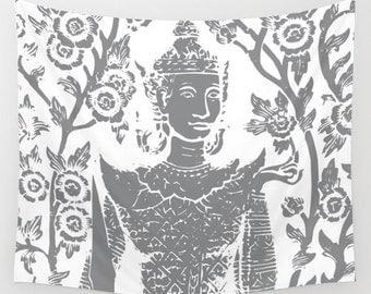 Buddha Tapestry / Modern Buddha Printed Wall Tapestry / Gray Thai Buddha Tapestry / Aldari Home