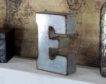 7 Inch Metal E/ Letter/ Metal Letter/ Galvanized Letter/ Rustic Signage/ Tin Letters/ Rustic Wedding/ Shabby Chic/ Industrial/ Shelf Letter