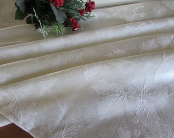 Vintage Damask Christmas Tablecloth - Holly - Ivory Linen Tablecloth - Christmas Linen - Christmas Damask - Christmas Catering