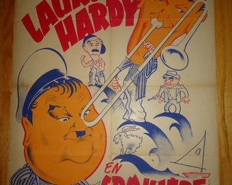 Original 1940 Saps At Sea French Movie Poster Laurel And Hardy Comedy, Navy