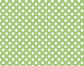 Green Small Dots Fabric, Riley Blake, 100% Cotton, Green  Polka Dots