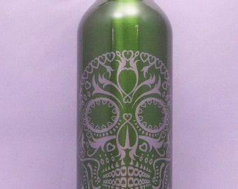 Day of the Dead, Stainless Steel Etched Water Bottle