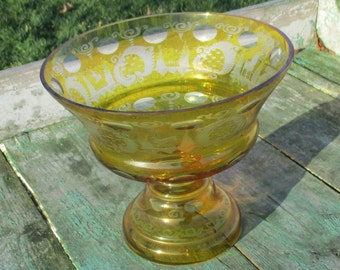 67 Vintage Cut Glass Yellow Bohemian Bowl Vase on Foot Lovely