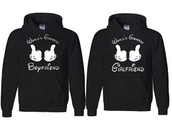 Couple Hoodie Worlds Greatest Boyfriend Worlds Greatest Girlfriend Matching Sweatshirts Love Couple Hoodie  Fast Prior ---- BLACK-BLACK