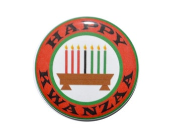 Happy Kwanzaa African American holiday African heritage Maulana Karenga 2 1/4 inch button