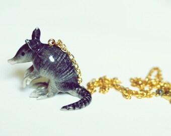 armadillo pendant necklace // ceramic animal necklace // animal jewelry // unique necklace