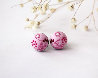 Pale pink stud earrings, Pink stud earrings, pink post earrings, Pink earrings, hot pink studs, Pink floral studs tiny earrings
