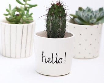 Succulent Planter // Small Plant Pot // Black and White // Hello // Minimalist Scandinavian Design