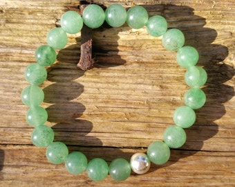 Green Aventurine Bracelet, Sterling Silver Bracelet, Beaded Bracelet, Stretch Bracelet, Aventurine Bracelet, Green Gemstone Bracelet