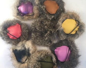 Rabbit Fur and Leather Circular Squeaky Dog Toy on a Finger Loop