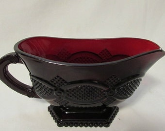 AVON 1896 Cape Cod Collection, Gravy Boat, Ruby Red Glass, 1970's