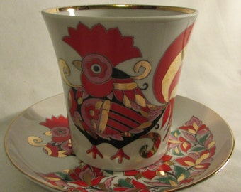 Red Rooster Cup and Saucer, Russian Imperial Lomonosov Porcelain, Leningrad, 1970's