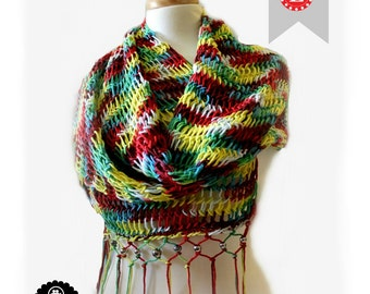 Loom Knitting Pattern Scarf Retangular Shawl Pattern EASY -  The Mock Mesh - Includes Video Tutorial