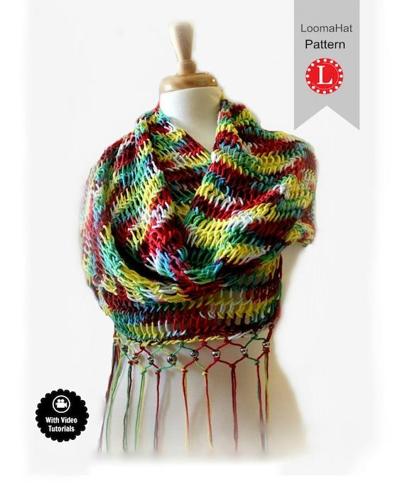 Easy Knitting Loom Scarf Patterns : Loom Knitting Pattern Scarf Retangular Shawl Pattern EASY