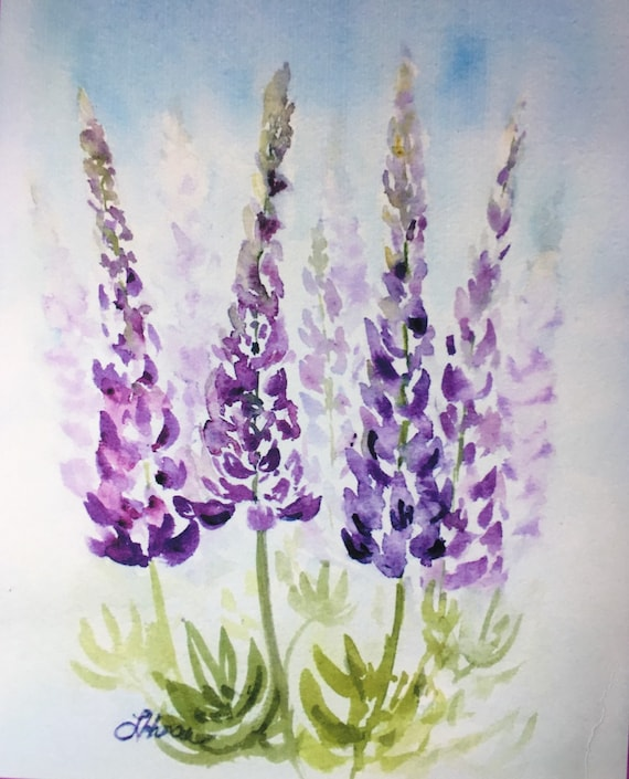Original Lupine Watercolor Painting Home Decor By