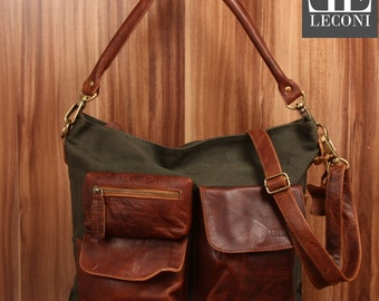 LECONI shoulder bag shoulder bag leather bag lady bag of canvas leather green LE0039-C