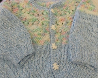 Handknit Baby Child's Sweater With Teddy Bear Buttons