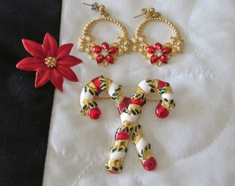 Christmas Poinsetta Tack Tac Pin and Earrings Candy Cane Brooch Lot