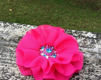 Hot Pink Flower Clip, Hot Pink Blinged Flower Clip, Jeweled Center Flower Clip, Hot Pink Clip, Flower Clip, Kid To Adult, Flower Accessory