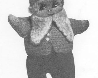 Vintage 1940s Toy Gnome Elf UK Knitting Pattern Instant Download PDF
