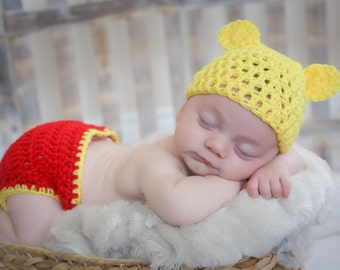 Crochet Baby Bear, Baby Bear Hat, Infant Bear Set, Diaper Cover Set, Pooh Baby Hat, Knit Bear Hat, Newborn Photo Prop, Bear Boy Hat