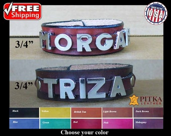 "Leather Wristband, Wrist Band for men, Wrist Band for women, Customize wristbands the way you like it, Great Valentine's day gift-3/4"" wide"