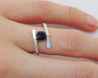 Floating Blue Goldstone Hammered Wire Ring