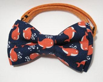 Blue Orange Cotton bowtie. Men's bowtie. Wedding bowtie. Boys bowtie. Kids bowtie. Newborn bowtie. Gift. Photo shoot