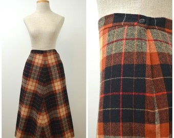 On Sale | Kirschtorte | Vintage 70s Plaid Wool Skirt | 1970s A-Line Skirt