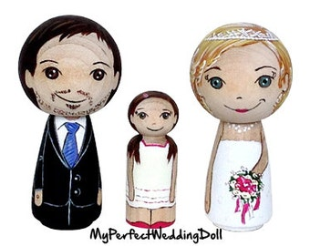 Greek Wedding Cake Topper - Family Portrait with Flower Girl - Perfect Wedding Gift or Anniversary Gift