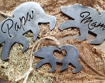 Mama Papa and Baby Bear Ornament Rustic Raw Steel Metal Recycled Heart Christmas Tree Holiday Gift Industrial Decor Wedding Favor