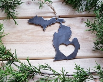 Michigan State Christmas Ornament Rustic Raw Steel Personalize Engrave Love MI Metal Holiday Decoration Stocking Stuffer House Warming Gift