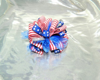 Stars and Stripes Loopy Poof Hair Bow Clip