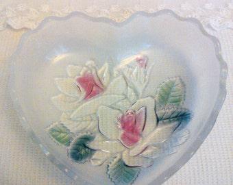 Heart and Flower glass dish candy dish glass dish flower dish heart dish