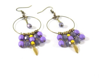 Earrings EJ Violet and Canary in brass and glass Czech beads