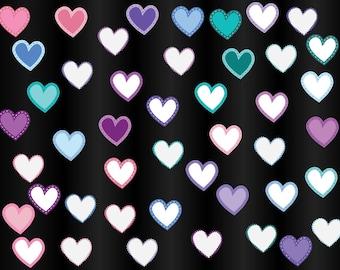 Hearts clipart, digital hearts, colorful hearts, scrapbook hearts, heart clip art, hearts with borders, cute heart clip art, Commercial Use