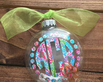Lilly Monogram Ornament | Glitter Monogram Ornament