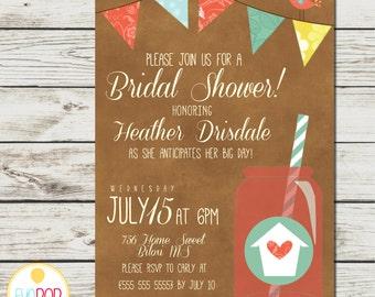MASON JAR INVITATION Bridal Shower - Bunting - Bird - House - Rustic Red Yellow Blue - Digital Printable