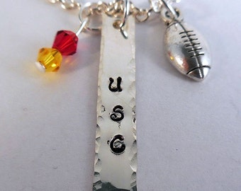 USC Trojans, College Football, Hand Stamped Charm Necklace