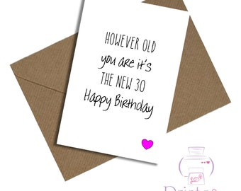 Friend birthday card new 30 40th 50th 60th 70th funny humourous