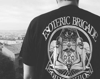 Esoteric Brigade t-shirt back print front left small print