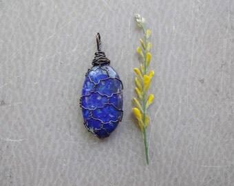 Lapis Lazuli palm stone wire wrapped long pendant