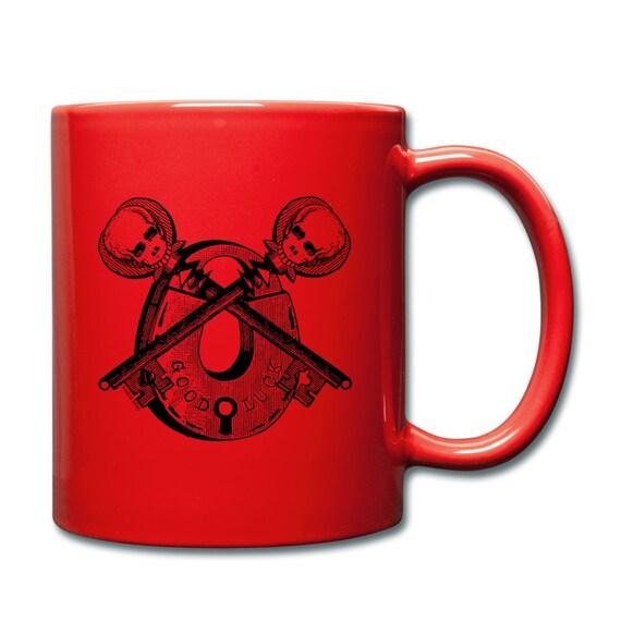 Vintage Skull Skeleton Key Padlock 'Good Luck' Print Illustrated Ceramic Mug Cup. Red. Left Or Right Handed.