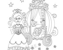 Princess coloring page, kids coloring page, fairy tale, girls coloring page, diy, drawing, color me, printable, digital stamp, favor, gift