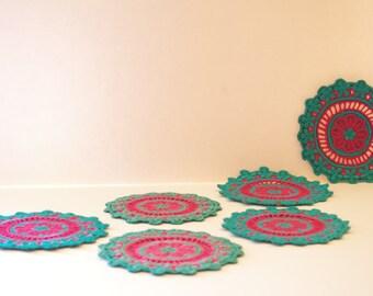 vintage crochet coasters / set of six colorful coasters / turquoise coasters / round fabric coasters / bohemian coasters / pink coasters