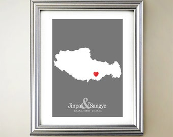 Tibet Custom Vertical Heart Map Art - Personalized names, wedding gift, engagement, anniversary date