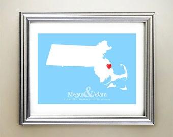 Massachusetts Custom Horizontal Heart Map Art - Personalized names, wedding gift, engagement, anniversary date